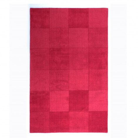 Wool Squares Red Chequered Rug